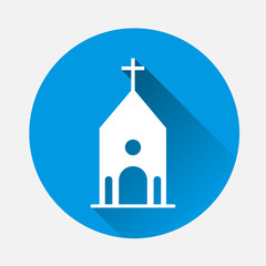 Church building icon on blue background. Flat image church icon with long shadow. Layers grouped for easy editing illustration. For your design.