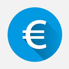 Vector image of the euro sign on blue background. Flat image euro icon with long shadow. Layers grouped for easy editing illustration. For your design.