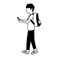 Young man with backpack and smartphone vector illustration graphic design