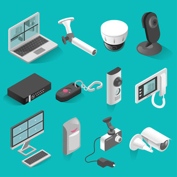 Security system vector isometric isolated elements set