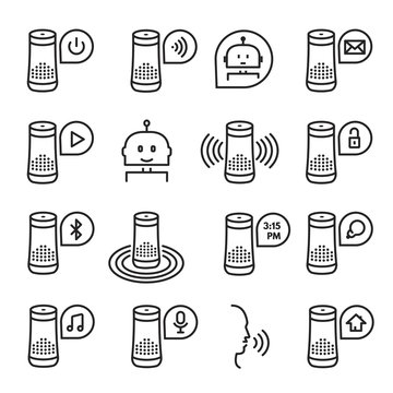 Smart speaker vector icon set isolated from background