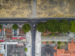 Aerial view of Yogyakarta city center about 100m above ground level