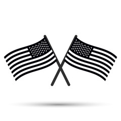 Crossed Flag of USA. Flat vector illustration on white background