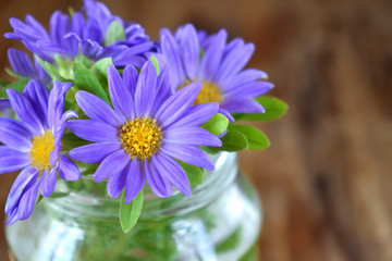 Bouquet of little violet asters against the wooden background