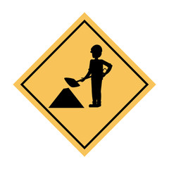 construction sign with worker with a shovel icon over white background, vector illustration