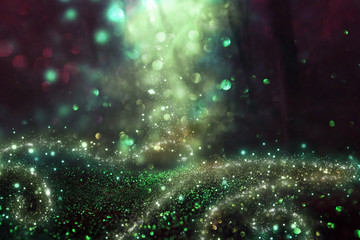 Abstract and magical image of glitter Firefly flying in the night forest. Fairy tale concept. Wall mural