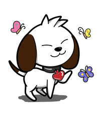 Dog logo illustration on white background.