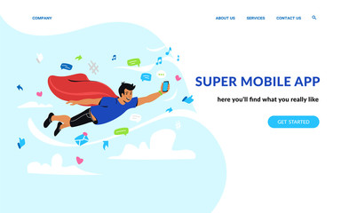 Super mobile app and social networks. Flat emotional vector illustration for website and landing page design of smiling superhero flying in sky of social media symbols holding smartphone in his hand