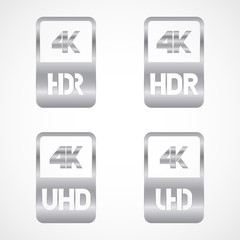 4K Ultra HD and HDR silver icon set. Vector illustration on white background