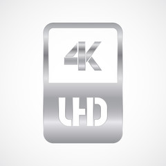 4K Ultra HD format silver and cut icon. Pure vector illustration on white background