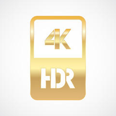 4K HDR format gold and cut icon. Pure vector illustration on white background
