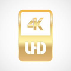 4K Ultra HD format gold and cut icon. Pure vector illustration on white background