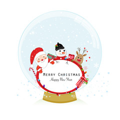 Snow globe. Santa claus, deer and snow man. Happy new year merry christmas greeting card