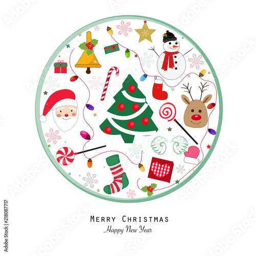 """""""New year icon.Happy new year and merry christmas greeting card. Santa claus, Snow man, Light ..."""
