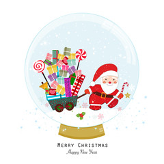 Snow globe. Santa claus with gift box. Holding gift. Happy new year merry christmas greeting card