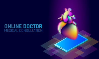 Doctor online medical app mobile applications. Digital healthcare medicine gradient color bright vibrant fluid 3D plastic. Neon glitch holographic shape innovation technology vector illustration
