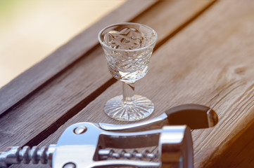 Glass for alcohol faceted