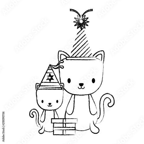Happy Birthday Design With Cute Cats Party Hats Over White Background Vector Illustration