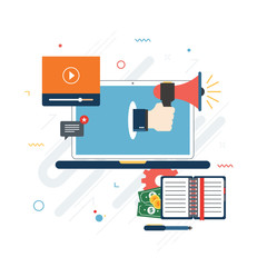 Hands with megaphone. Calendar, laptop and money icons. Business  icon and computer screen and communication. Concept of business, finance and success in business. Flat design vector.