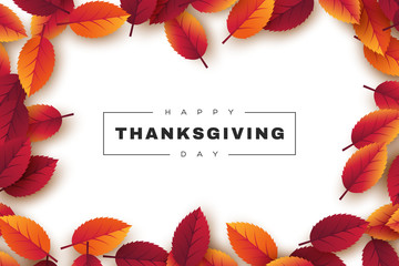 Happy Thanksgiving holiday design with bright autumn leaves and greeting text. White background. Vector illustration.