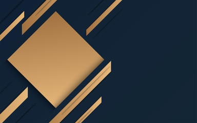 Abstract geometric banner with gold shapes on blue black background. Elegant style. Vector Illustration
