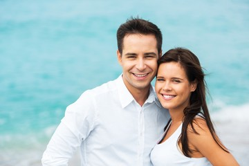 Portrait of a Happy Smiling Couple at the Beach