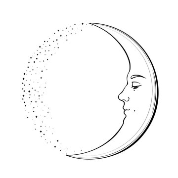Waxing Crescent Moon with a face of handsome young man. Hand drawn vector illustration in vintage style