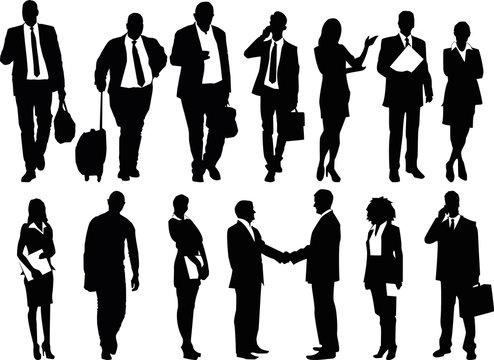 business people illustration, men and women vector set