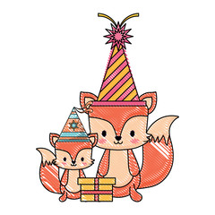 happy birthday design with cute foxes with party hats over white background, vector illustration