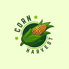 Cool Badge Corn Harvest logo designs concept vector, Corn logo symbol, Agriculture symbol