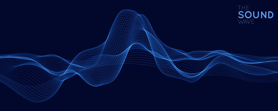 Vector abstract blue digital equalizer with shallow depth of field effect. Vector of sound wave. Glowing points. Signal visualization. HUD elements. Waveform.