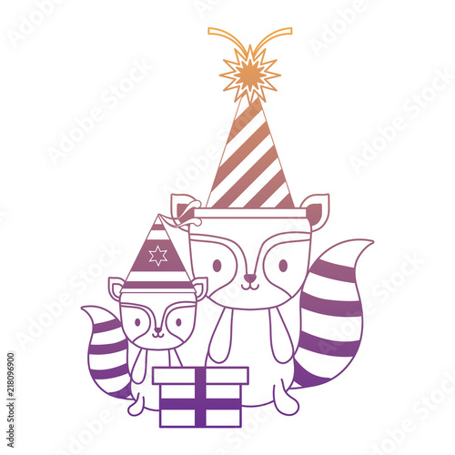 Happy Birthday Design With Cute Raccoons Party Hats Over White Background Vector Illustration