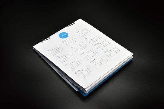 minimal calendar 2019 mockup on black background