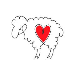 Lamb with heart. Cartoon sheep in love. Lamb and heart. Vector illustration in flat style.