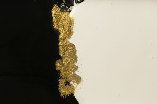 Abstract acrylic background. Artwork texture. Gold powder.