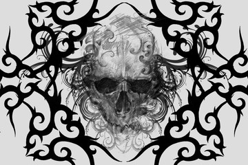 Wall Mural - Skull. Tattoo design over grey background. textured backdrop. Artistic image