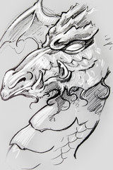 Wall Mural - Dragon, Tattoo sketch, handmade design over vintage paper