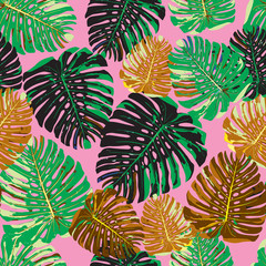 Tropical leaves seamless pattern colorful isolated hand drawn pl