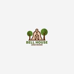 Bell House Logo Design, Home Logo Design, Classic Home Logo, Vintage Home Logo, Village Home Logo Illustration