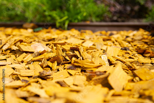 Decorative Bark Mulch Mulching With A Flower Bed Wood Chips Natural