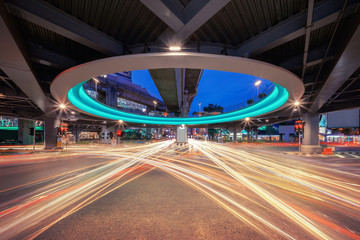 Bangkok tunnel intersection with car lights at Siam in technology transportation concept, Bangkok City, Thailand Fotomurales