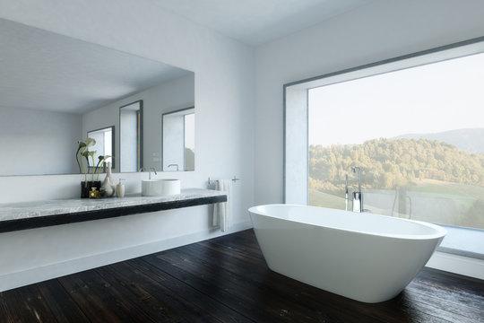 Modern bathroom with tub by large mirror