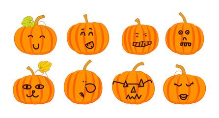 Collection of funny Halloween pumpkins. Vector cartoon pumpkins