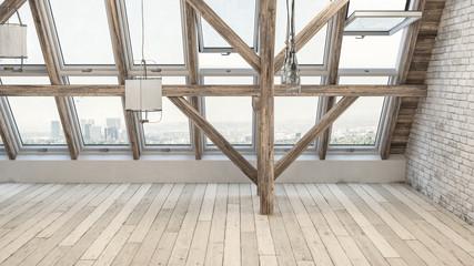 Empty rehabilitated attic with large windows