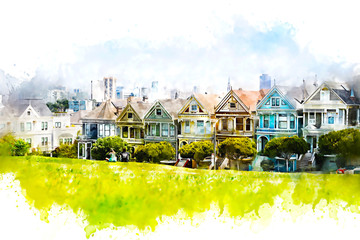 Iconic San Francisco Painted Ladies as watercolor