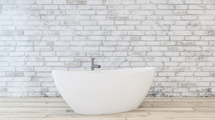 Oval shaped bathtub with faucet on wooden floor