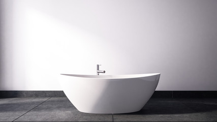 Oval shaped bathtub with chrome faucet