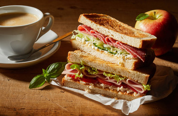 Foto auf AluDibond Fastfood Fresh tasty double sandwich with coffee for lunch