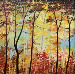 Gemälde Herbstwald