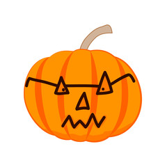 Evil Halloween pumpkin with glasses. Vector